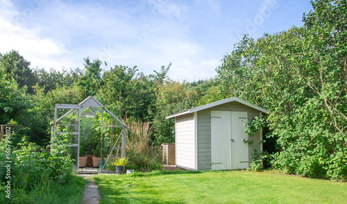 Fotomural Greenhouse and shed in green  lush garden