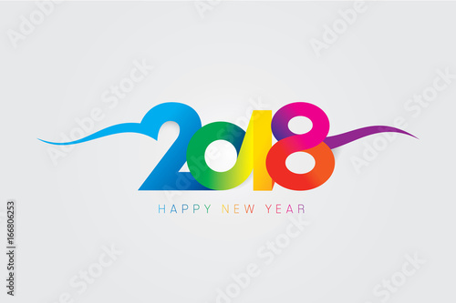 Fotografia  Vector 2018 Happy New Year design with text on white background.