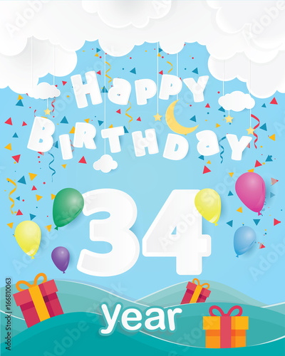 Cool 34 Th Birthday Celebration Greeting Card Origami Paper Art Design Party Poster Background