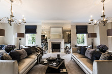 A Luxury Mansion Living Room W...