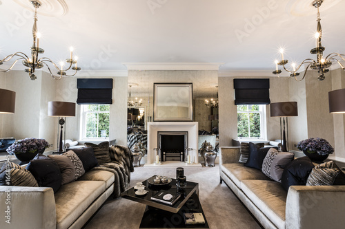 Photographie A Luxury Mansion Living Room With Feature Fireplace