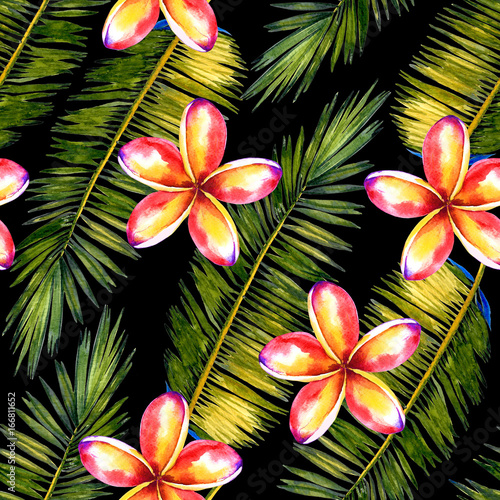 seamless watercolor floral pattern with stylized palm leaves and