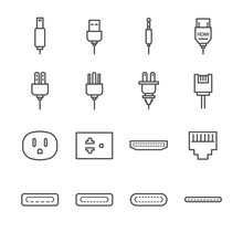 Plug And Socket Line Icon Set....