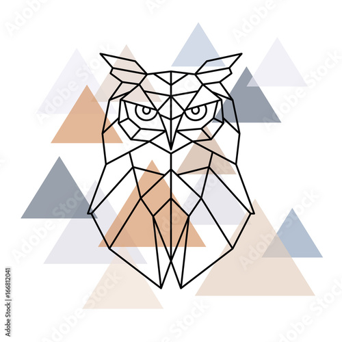 Owl geometric head. Scandinavian style. Vector illustration. Fototapet