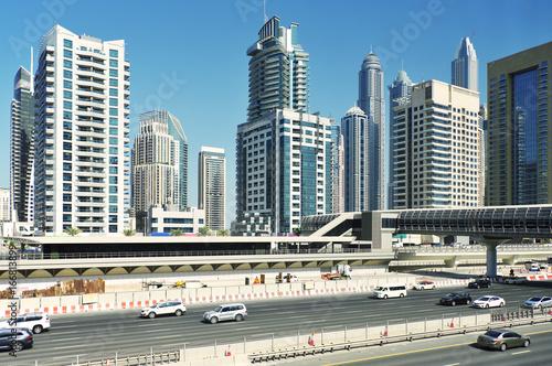 Poster Chicago Futuristic buildings in Dubai Marina.