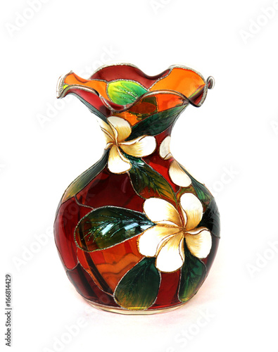 Beautiful Colored Glass Vase For Flowers On White Background Buy
