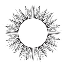 Hand Drawn Etching Style Frame In A Shape Of Sun Rays Vector Illustration