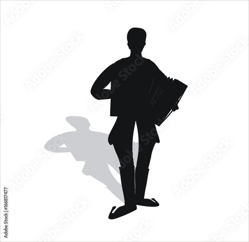 accordionist - accordion shadow Tablou Canvas