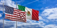 Mexico And America Waving Flag...