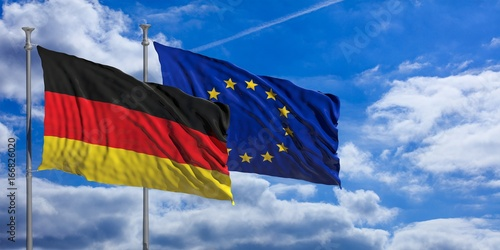 Obraz Germany and EU waving flags on blue sky. 3d illustration - fototapety do salonu