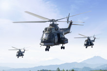 Three Military Helicopters Pat...