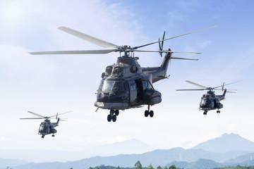 Tri vojna helikoptera patroliraju u planini