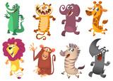 Fototapeta Fototapety na ścianę do pokoju dziecięcego - Cartoon tropical  animal set.  Set of cartoon animals vector illustration. Crocodile alligator, tiger, elephant, giraffe, lion, monkey chimpanzee, zebra and rhino