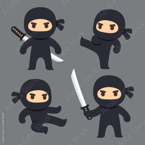 Cute cartoon ninja set Wallpaper Mural