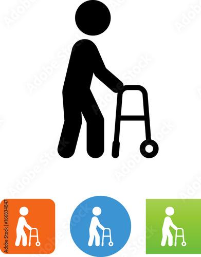 Fotografie, Obraz  Male Senior Citizen With Walker Icon - Illustration