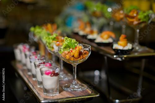 Tela cocktail food buffet. catering. dessert
