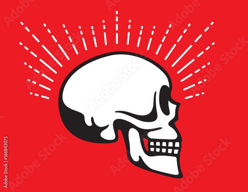 Fototapeta Skull Side View with Glow Line graphic effect Vintage style vector illustration of skull in profile view