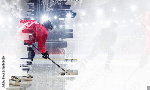 Photo Hockey players on ice. Mixed media