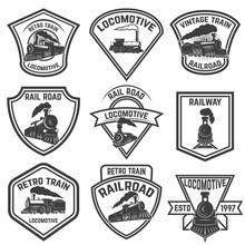 Set Of The Emblems With Vintage Trains Isolated On White Background. Design Elements For Logo, Label, Emblem, Sign, Badge. Vector Illustration