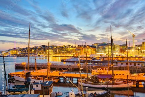 Oslo harbor at night in Oslo city, Norway Canvas Print