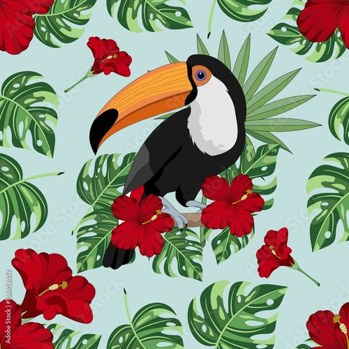 plakat Seamless background with tropical leaves, Toucan and flowers. Jungle. Vector illustration.