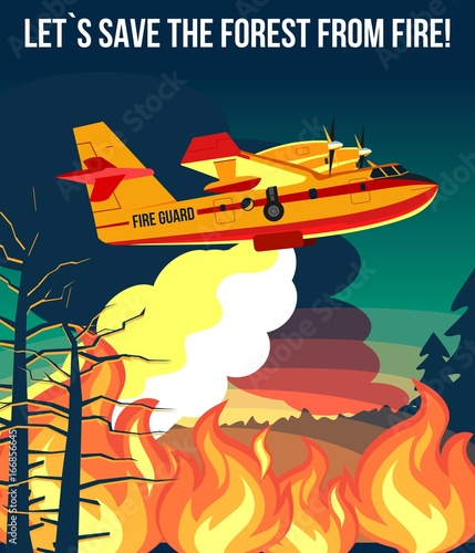 Wildfire firefighter plane or fire aircraft jet extinguish ...