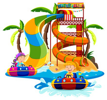 Boy And Girl Playing Water Slide