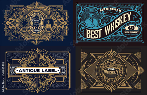 Obraz set of templates with banners vintage and design elements - fototapety do salonu