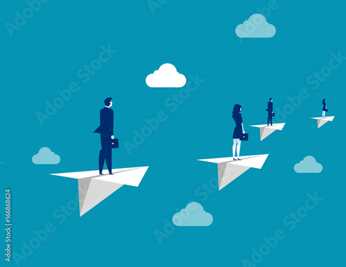 Business team flying with paper plane. Concept business vector illustration. Wall mural