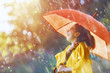 Leinwandbild Motiv child with red umbrella