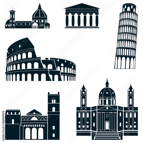 Cuadros en Lienzo italy silhouette Set