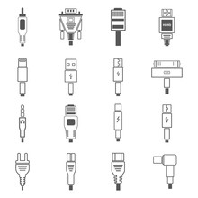 Electric Plug, Connectors And Jack Flat Line Icons Set. Collection Connection Technology, Connector Electric Power, Mobile Devices Connect, Wire And Socket