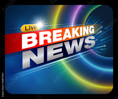 Breaking News Live Banner On TV Internet Broadcast Business And Technology Background