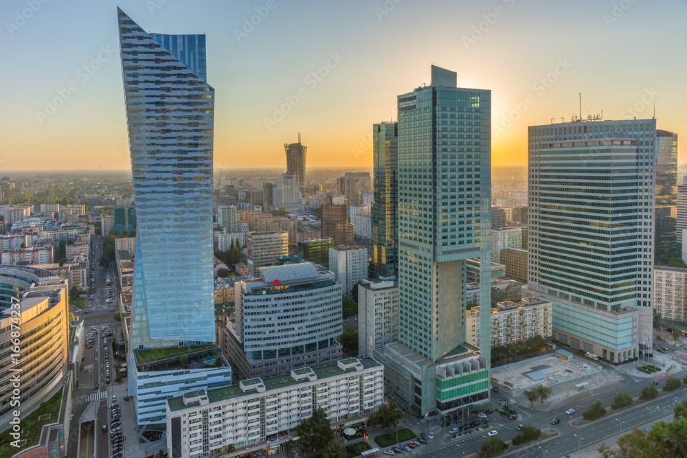 Fototapety, obrazy: Centrum Warszawy o zachodzie słońca