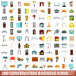 100 construction business icons set, flat style