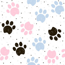 Colorful Dogs Paw Seamless Pattern. Vector Hand Drawn Illustartion.