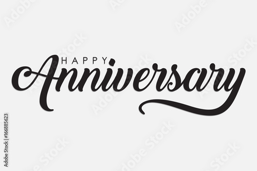 Photo  isolated calligraphy of happy anniversary with black color