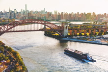 Aerial View Of The Hell Gate Bridge Over The East River In NY