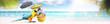 canvas print picture - Papagei als Paradiesvogel am Strand - Urlaub Konzept