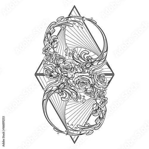 Alchemic Element Of Water Sign Artistic Decorative Interpretation