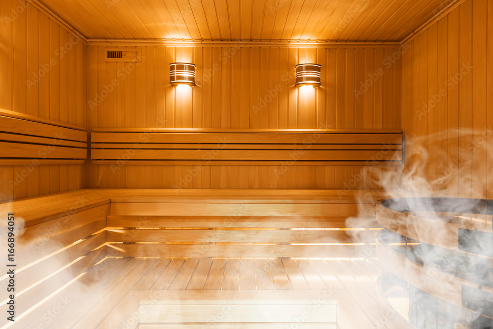 Fototapeta Interior of Finnish sauna, classic wooden sauna