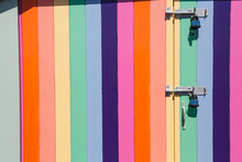 Rainbow-coloured Beach Hut