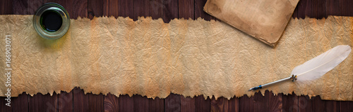 Vintage manuscript with pen on desk, paper texture as background for text Canvas Print