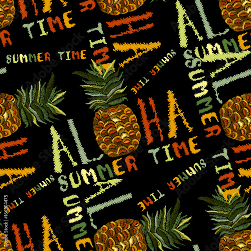 embroidery pineapple seamless pattern aloha summer time slogan