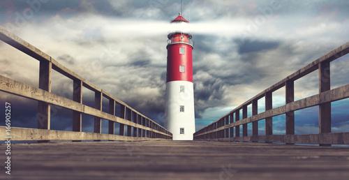 Fototapeten Leuchtturm Leuchtturm beim stürmischen Wetter