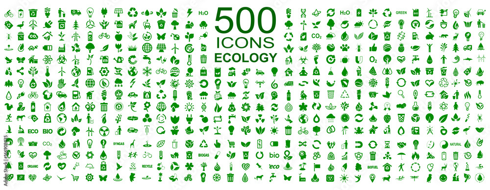 Fototapety, obrazy: Set of 500 ecology icons – stock vector