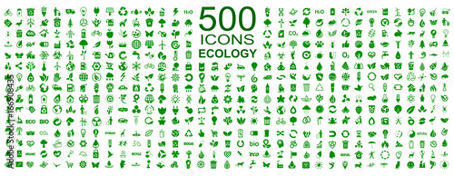 Fotografie, Obraz  Set of 500 ecology icons – stock vector