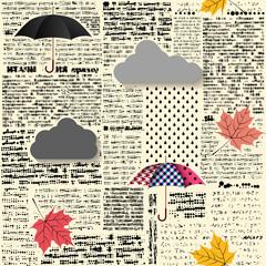 Tapeta Seamless background pattern. Imitation of grunge retro halftone newspaper, unreadable.