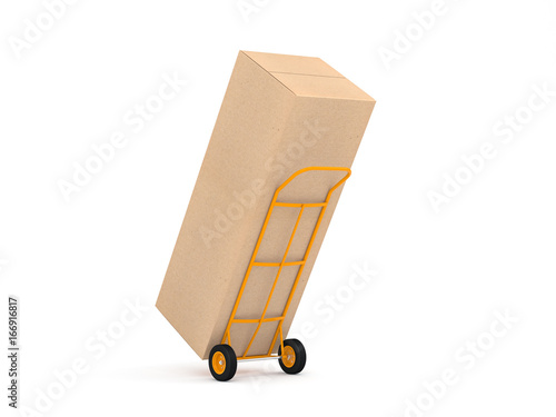 Fototapeta Yellow Hand Truck with large cardboard box on white background, packaging for household refrigerator, 3d rendering obraz