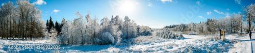 Poster Gris Winter Landschaft im Erzgebirge Panorama